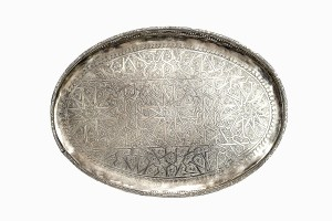 Moroccan oval silver tray