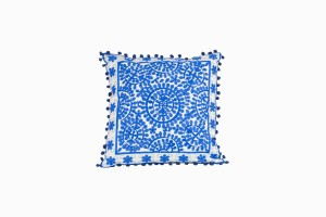 Cornflower blue embroidered pom pom cushions