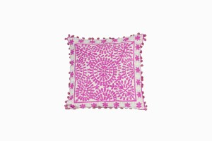 Pink embroidered pom pom cushion