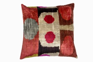 ref, silver, black, brown patterned silk ikat cushion