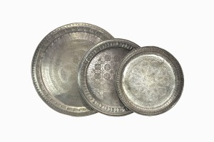 Moroccan patterned silver trays