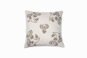 Taupe climbing flower cushion (spread) 46cm x 46cm