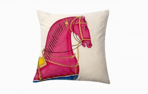Kishangarh pink horse cushion with yellow