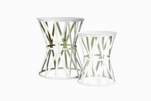 Deauville white metal side tables