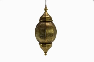 Large punched brass flower lantern