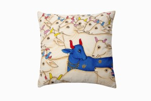 KIshangarh cushion Blue Holy Cow (looking right)