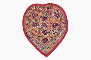Embroidered heart red binding