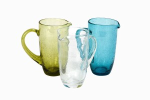 Green, blue and clear bubble glass jugs