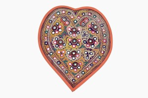 Embroidered heart orange binding