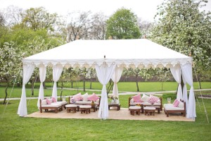 A metal frame Raj Tent at Fulham Palace, London
