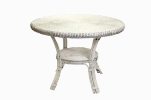 Small white wicker dining table
