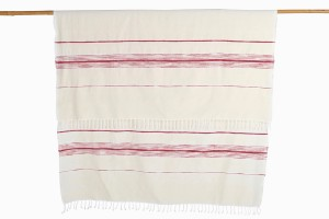Moroccan red:cream wool strip bedcover