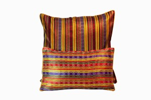 Middle eastern multicolour stripe silk cushions