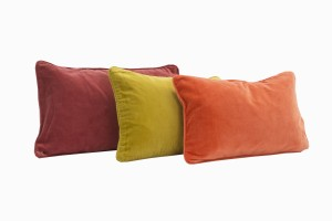 Velvet rectangular cushions, rust red, turmeric and soft orange