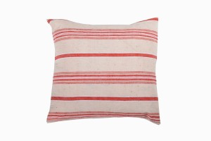 Turkish linen large coral:cream square cushion