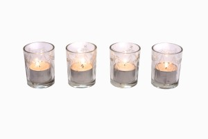 Etched clear glass votives