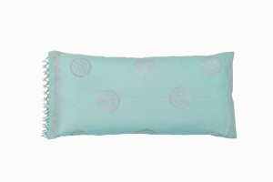 Aqua cushion with silver print and beads