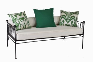 Palm Springs gunmetal daybed without canopy, green ikat cushions