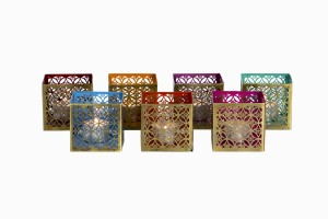 Square brass perforated votives