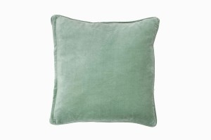 Square velvet cushion soft grey
