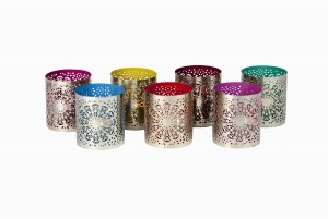 Round silver perforated votives