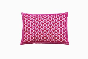 Moroccan pink diamond pattern cushion