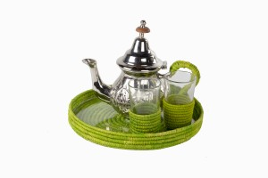 Moroccan raffia tea set lime green
