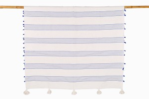 Moroccan blue:cream stripe bedcover with tassels