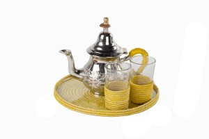 Moroccan raffia tea set yellow
