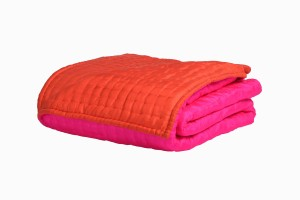 King size quilted silk bedspread hot pink  orange