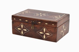 Wooden box with bone inlay
