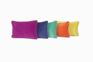Velvet rectangular cushions, fuschia, soft purple, emerald, soft orange and curry