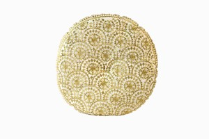 Sparkly gold round embroidered cushion