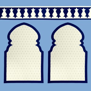 Blue Fez panel wall