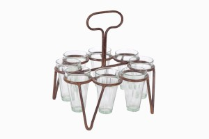 Round chai holder Ref 2 with eight glasses