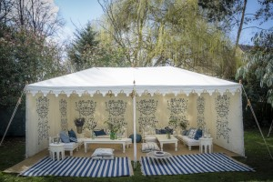Metal Frame Raj tent with blue climbing flower walls