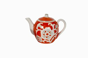 Uzbeki orange teapot with white flower decoration