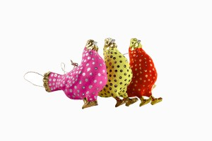 Brightly coloured hens