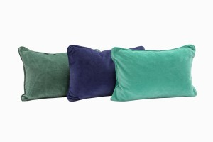 Velvet rectangular cushions, pine, soft purple and emerald