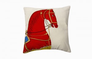 Kishangarh cushion red horse looking right