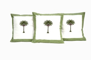 Hand block palm tree cushions(2)