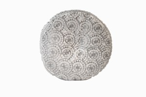 Sparkly round silver embroidered cushions