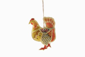 Embroidered hen decoration No 2