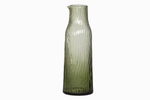Grooved glass carafe green