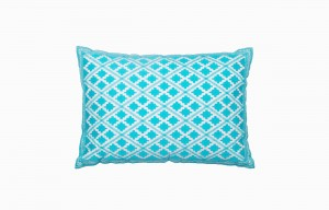 Moroccan turquoise diamond pattern cushion
