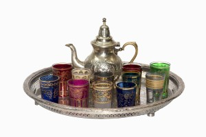 Moroccan teapot, tray and glasses