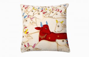 Kishangarh cushion red Holy Cow looking right
