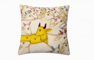 Kishangarh cushion yellow holy cow looking left