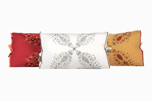 Red, cream and sand embroidered cotton cushions