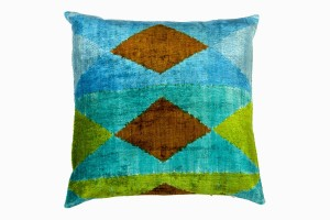 Blues and terracotta Ikat